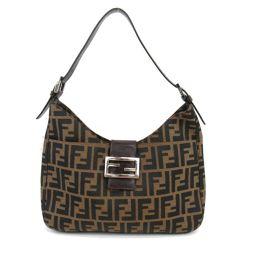 FENDI Fendi Zucca Pattern One Shoulder Khaki x Dark Brown Canvas Leather (Zucca) [Used]