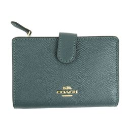 COACH Coach Leather L-type ZIP wallet F11484 IMAPC Evergreen embossed leather [New] Lady