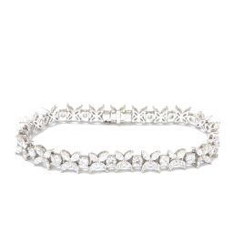 TIFFANY & CO Tiffany Victoria Alternating Bracelet Clear x Silver PT95