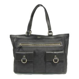 GUCCI Gucci Tote Bag 146247 Black GG Canvas Leather [Used] [Rank A] Lady