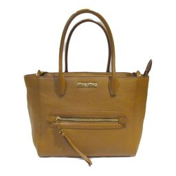 miu miu Miu Miu 2way shoulder handbag 5BG137 Brown Leather [Used] [Rank A