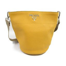 PRADA Prada bucket type one shoulder bag 1BE012 yellow cowhide (calf) [Used] [Rank A]