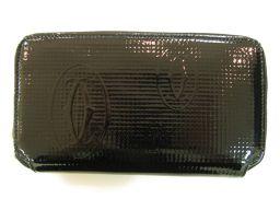 Cartier カルティエ ハッピーバースデー ラウンドファスナー長財布 ブラック パテントレザー 【中古】【ラン