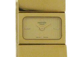 HERMES エルメス ロケ 腕時計 ウオッチ L01.201 ゴールド×ブラック GP×七宝焼き 【中古】【ラン
