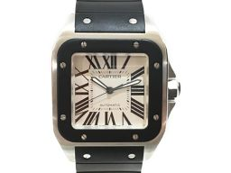 Cartier カルティエ サントス 100 腕時計 WATCH W20121U2 ブラック SS×ラバー 【中古
