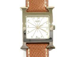 HERMES エルメス Hウォッチ 腕時計 HH1.210 ブラウン×ホワイト レザーベルト □A刻印 【中古】【