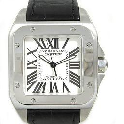 Cartier カルティエ サントス 100 腕時計 ウォッチ W20073X8 ホワイト レザーベルト 【中古】