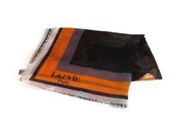 LANVIN ランバン ストール イエロー/ブラック/オレンジ カシミア 【新品同様】 レディース