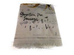 Dior クリスチャン・ディオール ストール アイボリー/柄 ウール 【新品同様】 レディース