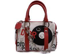 Dior クリスチャン・ディオール ハンドバッグ ホワイト×レッド×ブラック×シルバー キャンバス キャンバス×レ