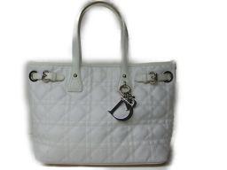 Dior クリスチャン・ディオール トートバッグ ハンドバッグ ホワイト レザー 【中古】【ランクA】 レディース