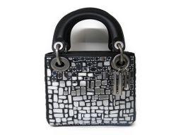 Dior クリスチャン・ディオール ミラー レディ ディオール ハンドバッグ シルバーxブラック ミラーxカーフ