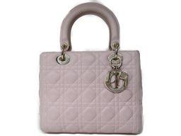 Dior クリスチャン・ディオール レディーディオール 2WAYショルダーバッグ ベビーピンク 羊革(ラム) 【中