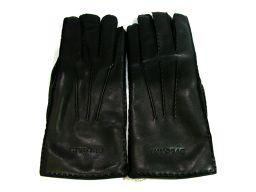 BVLGARI ブルガリ 手袋 グローブ ブラック レザー ×カシミア 【中古】【ランクA】 メンズ/レディース
