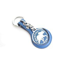 HUNTING WORLD ハンティングワールド キーリング キーホルダー ブルー レザー×ステンレス 【中古】【