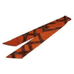 HERMES エルメス トゥイリー メドールスカーフリング付き オレンジxブラウン シルク 【中古】【ランクA】