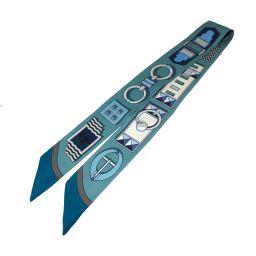 HERMES エルメス トゥイリー スカーフ ブルー x ホワイト シルク 【中古】【ランクA】 レディース