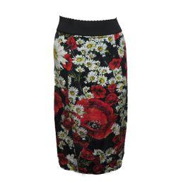 Dolce & Gabbana ドルチェ&ガッバーナ フラワー柄 タイトスカート ブラック/レッド/ホワイト/イエ
