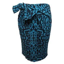 LANVIN ランバン スカート ブルーグリーン×ネイビー コットン 76%コットン×21%ポリメイド×3%エラス