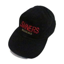 BALENCIAGA バレンシアガ キャップ 帽子 ブラック コットン 【中古】【ランクA】 メンズ/レディース