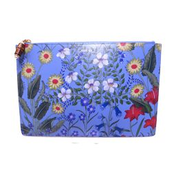 GUCCI Gucci Flora Bamboo Clutch Bag 453159 Blue X Multicolor X GHW Leather