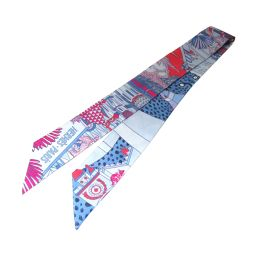 HERMES エルメス トゥイリー ツイリー スカーフ リボン ブルー×レッド×ピンク シルク100% 【新品】