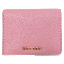 miu miu ミュウミュウ ウォレット 二つ折財布 5MV204 ピンク ゴートスキン 【中古】【ランクA】 レ