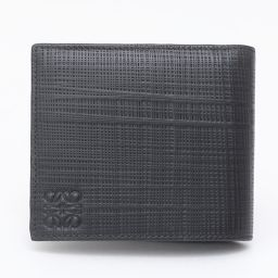 LOEWE ロエベ バイフォルド・二つ折り財布 ブラック テクスチャードカーフ 【新品同様】 メンズ