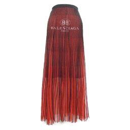 BALENCIAGA バレンシアガ ロング スカート レッド×ブラック レーヨン52%×ポリエステル44%×ウール
