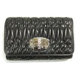 miu miu Mew Meu Materasse double fold wallet 5MH015 black nappa leather [like new]