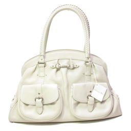 Dior クリスチャン・ディオール ハンドバッグ ホワイト レザー 【中古】【ランクA】 レディース