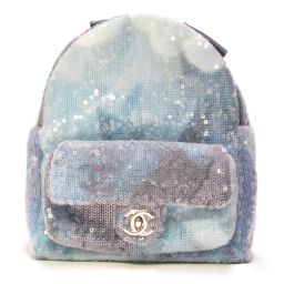 CHANEL Chanel Bag Pack Rucksack A57418 Blue (Metal: Silver) Leather x Fab