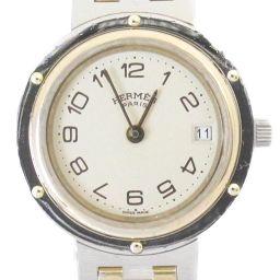 HERMES エルメス クリッパー 腕時計 ウォッチ アイボリー ステンレススチール(SS)  x メッキ 【中古