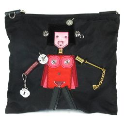PRADA プラダ ショルダーバッグ(人形付き) ブラック x レッド x ピンク ナイロン 【中古】【ランクA】