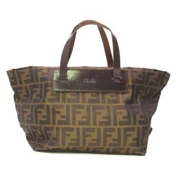 FENDI Zucca Handbag Brown x Dark Brown Canvas [Used] [Rank B] ​​Lady