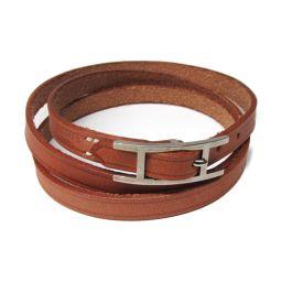 HERMES Hermes API 3 Bracelet Choker Brown x Silver Leather [Used] [Rank A] Men