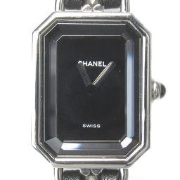 CHANEL シャネル プルミエールL ウォッチ 腕時計 ブラック ステンレススチール(SS)  x レザー 【中