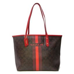 COACH COACH Signature Tote Bag Shoulder Bag Brown x Red Coated Canvas [