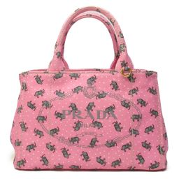 PRADA Prada Kanapat Tote Bag 2way Bag Shoulder Bag 1BG439 Pink x Gray Can