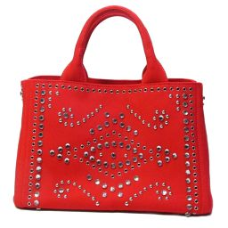 PRADA Prada Kanapat Tote Bag 2way Bag Shoulder Bag BN2439 Red Canvas x