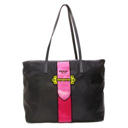 PRADA Prada Tote Bag 1BG065 Black x Pink x Yellow Nylon x Leather x Beige