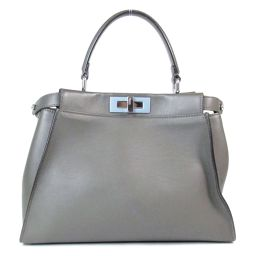 FENDI Peekaboo Gray Leather [Used] [Rank B] Ladies