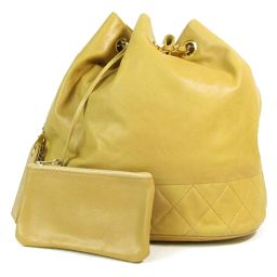 CHANEL Drawstring chain shoulder bag beige (metal fittings: gold) sheep leather (lamb) [used] [rank B
