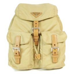 PRADA Prada Rucksack Bag Pack Beige Nylon x Leather [Used] [Rank B] ​​Mens /