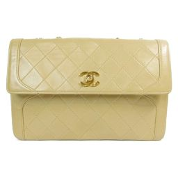 CHANEL Chanel Chain Shoulder Bag Beige (Metal: Gold) Leather [Used] [Rank B] Lady