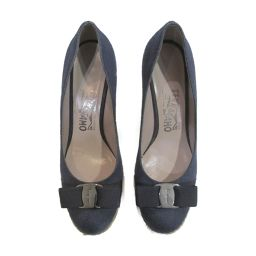Salvatore Ferragamo Salvatore Ferragamo Pumps Navy Linen [Used] [Rank A