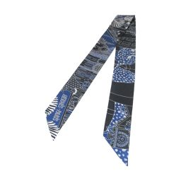 HERMES エルメス トゥイリー スカーフ ブラック×ブルー シルク 【新品同様】 メンズ/レディース