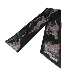 HERMES Hermes Maxi Twily Scarf Black x Brown Silk [Similar to New] Men / Women