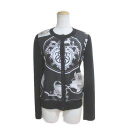HERMES Hermes Cardigan Black x White 100% Wool // 100% Silk [Used] [Rank A]