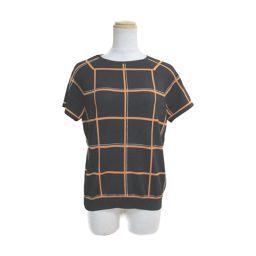 HERMES Hermes Short Sleeve Knit Black x Orange x White 70% Wool x 30% Silk [Used] [Rank A